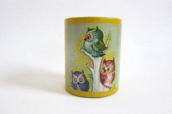 Vintage Owl Pencil Holder