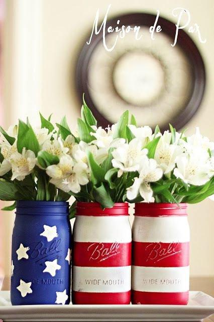 Painted Mason Jar Flower Vases