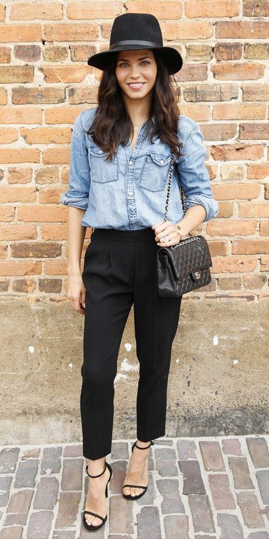Jenna's Chambray Top + Black Pants