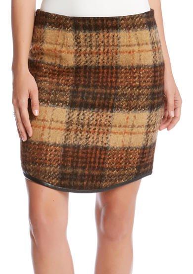 Karen Kane Curved Hem Plaid Skirt