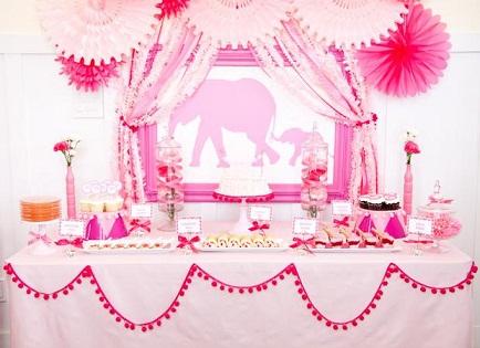 Pink Elephants Baby Shower Theme...