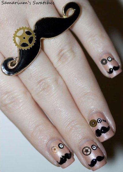 Moustache Steampunk Nails