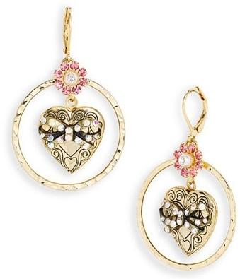 Vintage Betsey Heart Locket Earrings