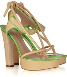 Kristopher Cane Two-Tone Leather Platform Sandals