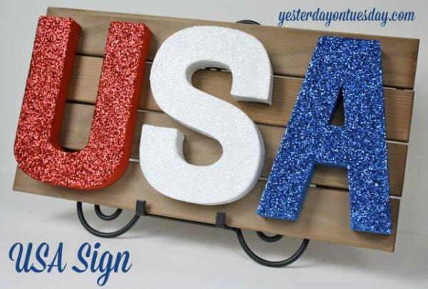 Glittery Usa Sign