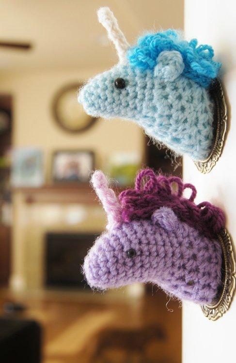 A Crochet Unicorn Head for the Wall