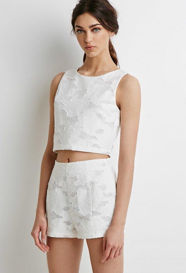 Textured Rose Pattern Shorts