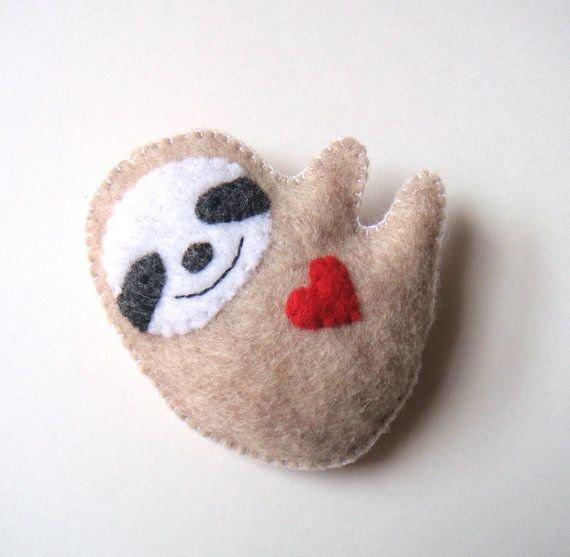 Sloth Felt Brooch