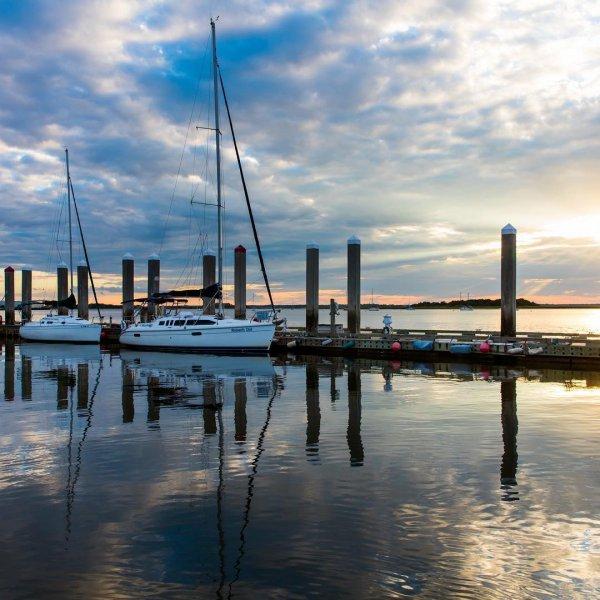 reflection, water, sky, marina, dock,