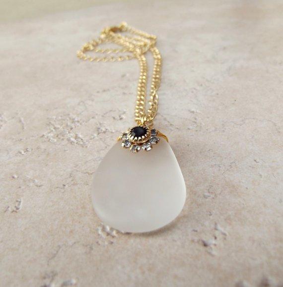 White Sea Glass Necklace with Jet Black Swarovski Flower