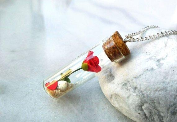 Rose Bottle Necklace