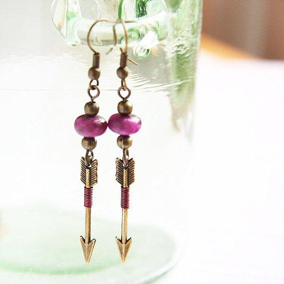 Pink Arrow Earrings