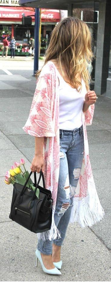Light Pink Fringe Kimono