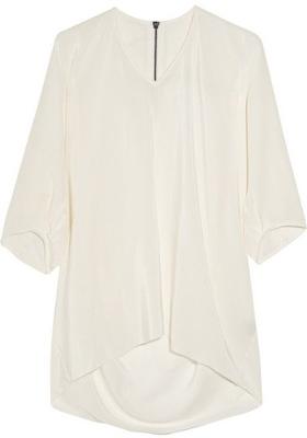 Alldressedup Draped Silk-Crepe Blouse