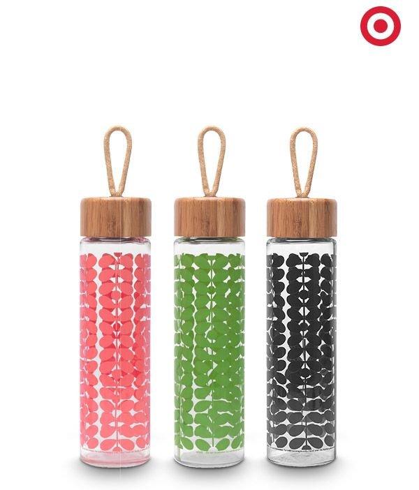 Orla Kiely Bamboo Glass Water Bottles
