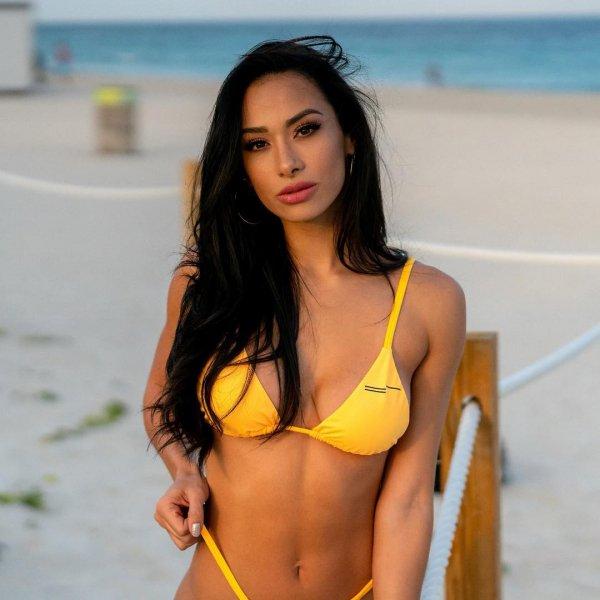 Swimwear, Clothing, Undergarment, Yellow, Beauty,