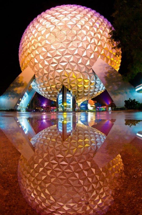 Disney World, Epcot,night,lighting,reflection,screenshot,