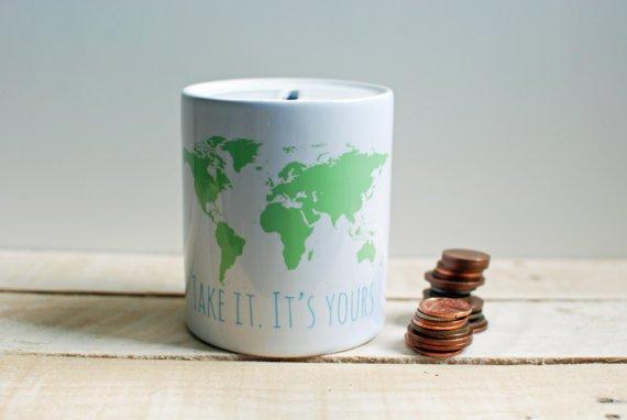 World Map Ceramic Money Box