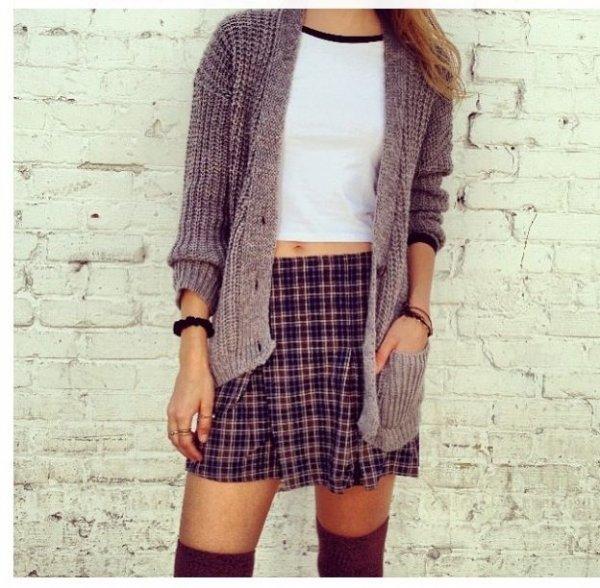 Plaid Skirt, High Socks, and a Cute Knit