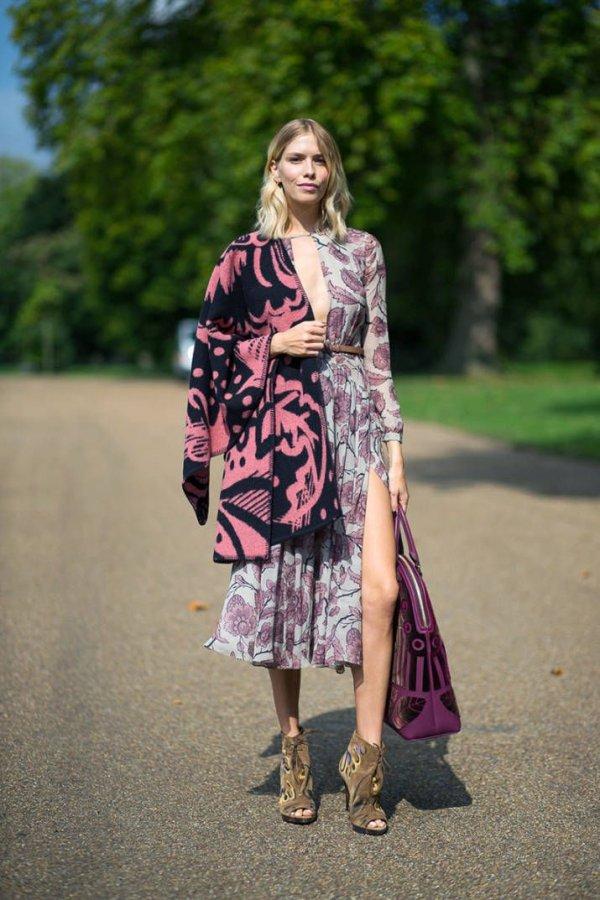 Wear a Printed Shawl over a Feminine Dress