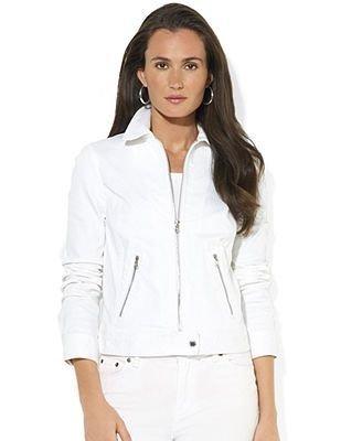 Lauren Jeans Co. Zip-Front Denim Moto Jacket
