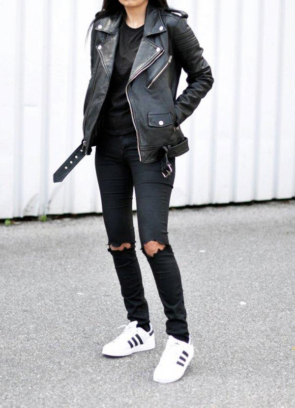 Adidas White and Black Superstars