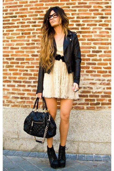 Lace Dress with Biker Jacket