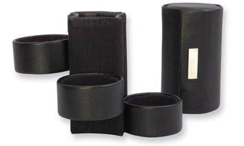 Black Three Level Leather Jewelry Roll