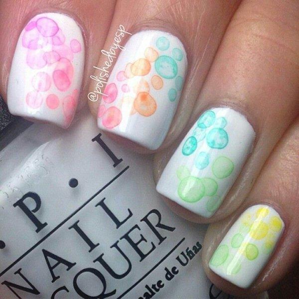 Cute Rainbow Bubble Nails