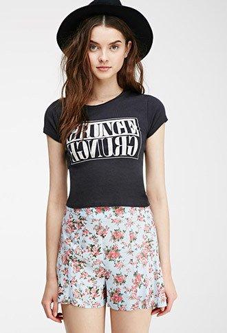 Rose Print High-Waisted Shorts