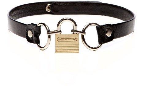 Rodarte Padlock Buckle Leather Belt Black