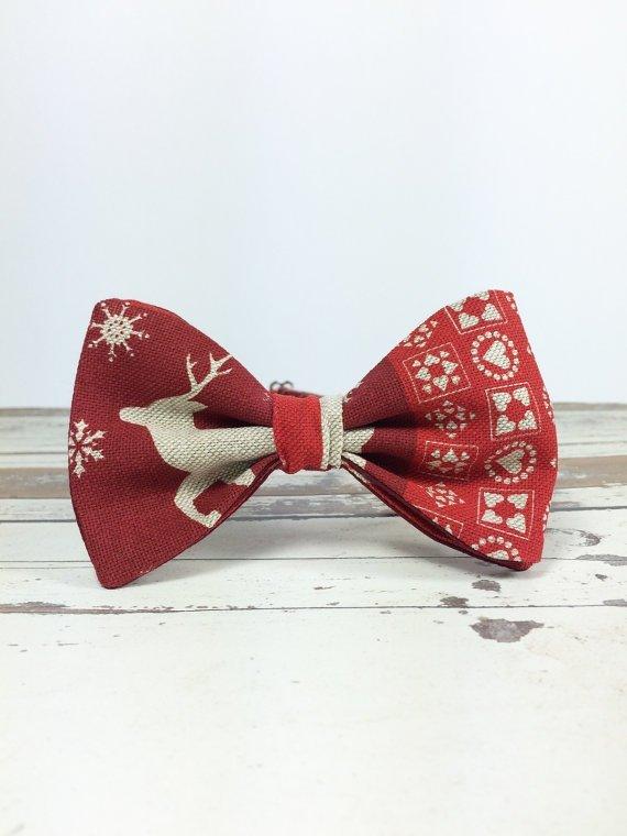 Pre Tied Red Deer Christmas Bow Tie