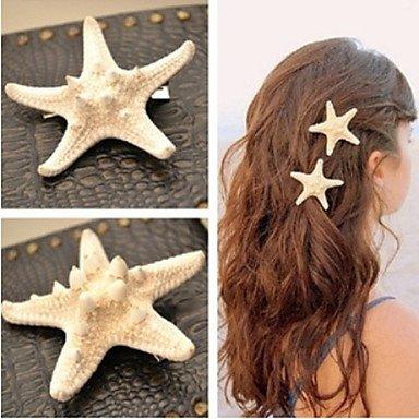European Starfish Shape White Cowry Barrettes