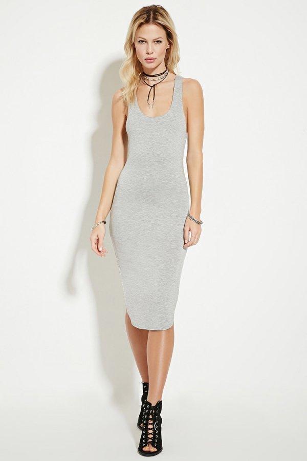 Dolphin-Hem Bodycon Dress