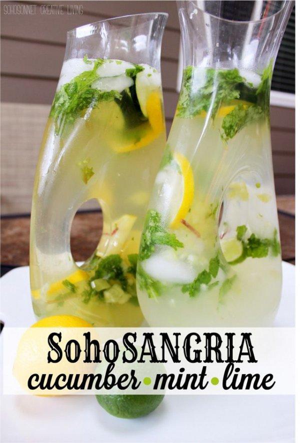 Cucumber Mint Lime White Wine Sangria