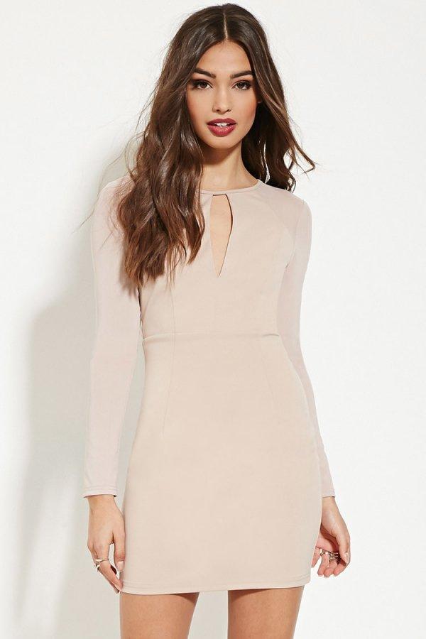 Mesh-Paneled Sheath Dress