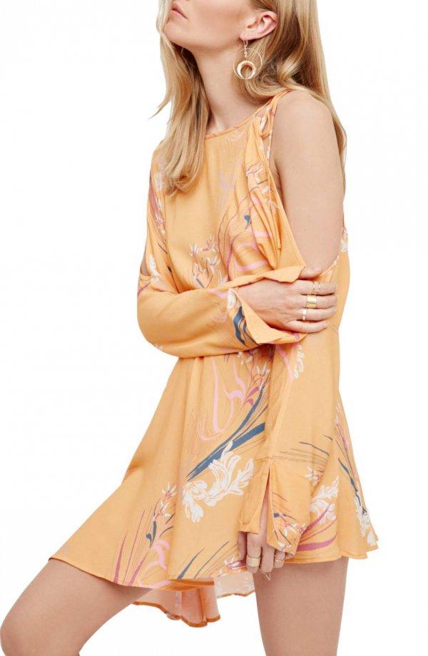 clothing, fashion model, shoulder, day dress, peach,