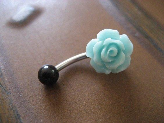 Sea Foam Rose Belly Button Ring