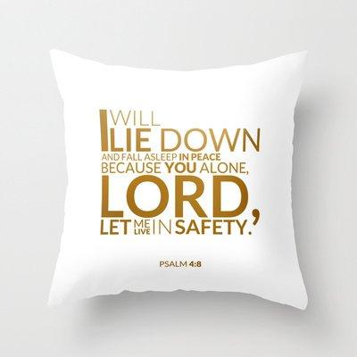 Psalm 4:8 Throw Pillow
