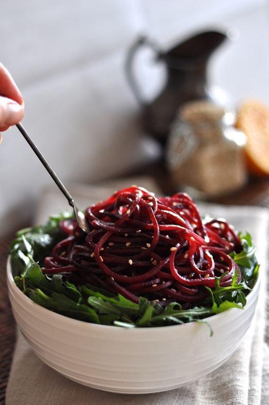Spiralized Beet & Arugula Salad with Orange Vinaigrette
