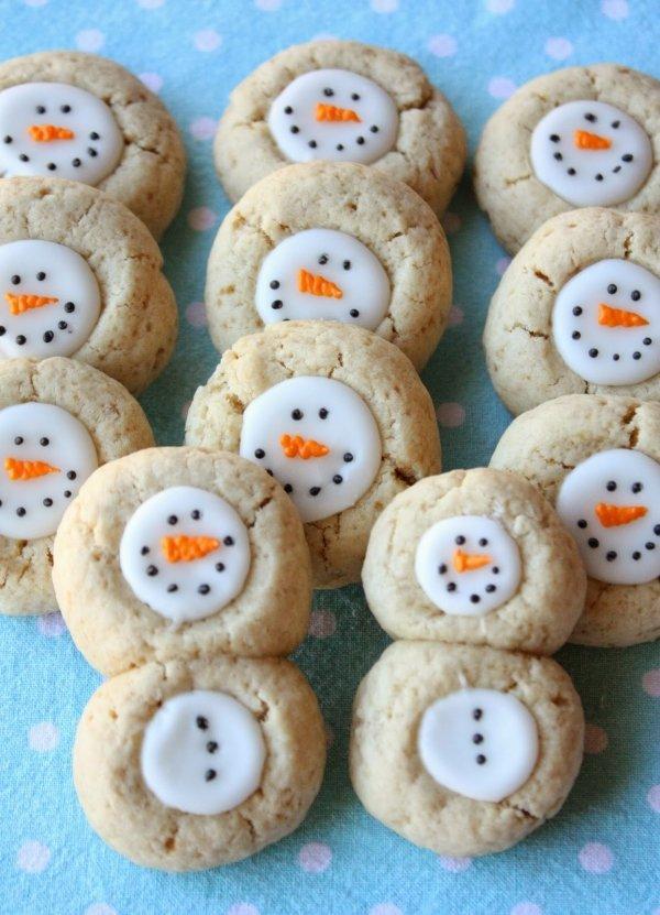 Thumbprint Snowman Cookie