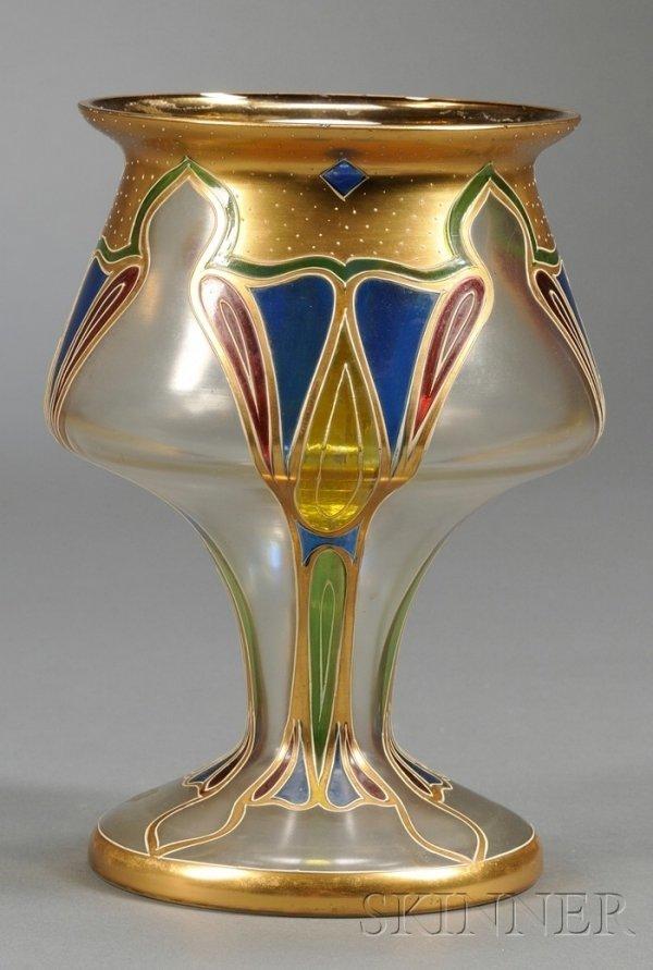 Art Nouveau Enameled Art Glass Vase