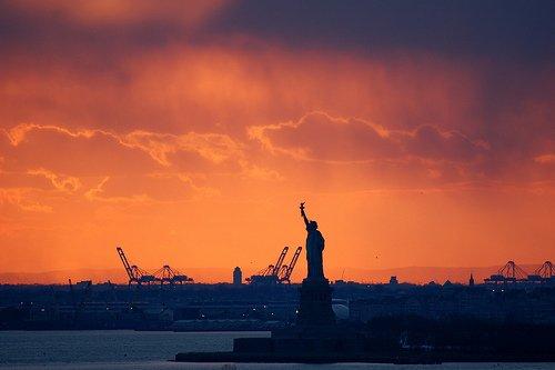 New York Harbor in New York, NY, USA