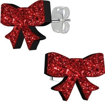 Ruby Red Glitter Ribbon Stud Earrings