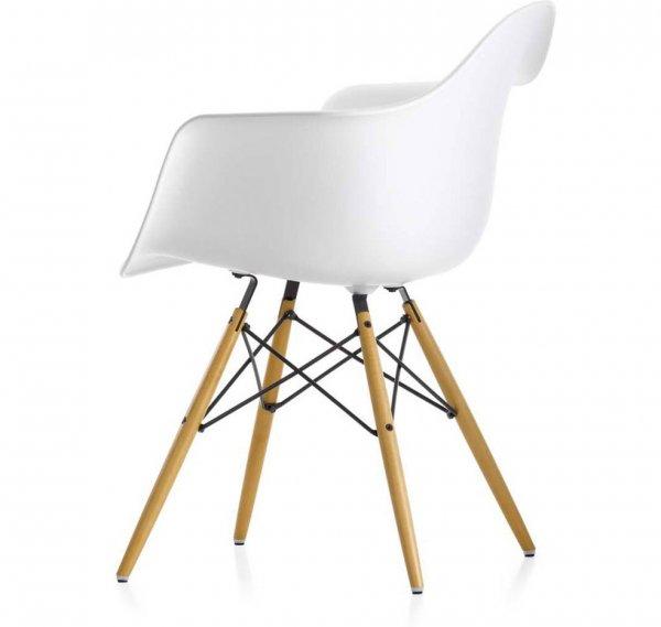 Eiffel Chair, White Plastic Arm Chair with Wood Eiffel Legs