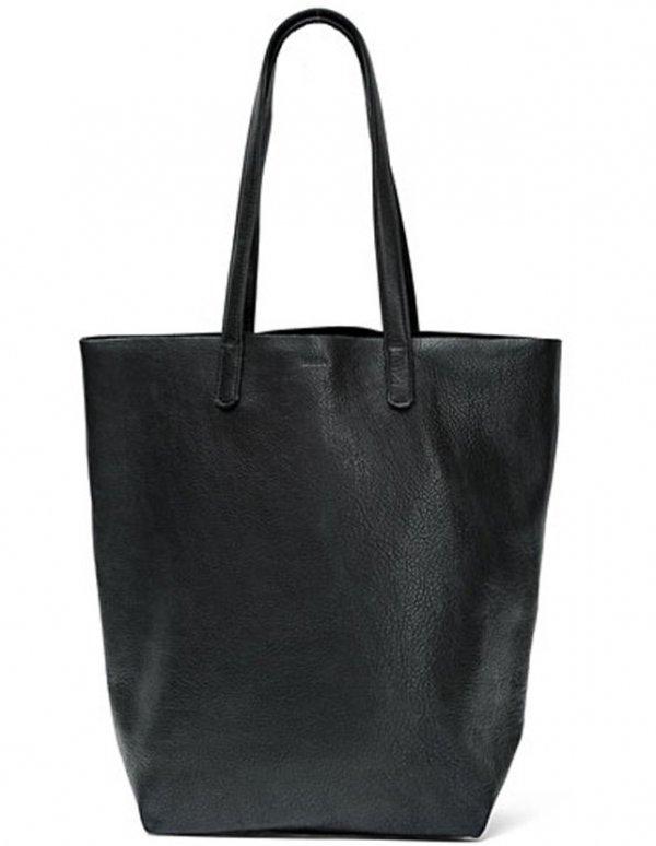 Basic Tote, Black Leather