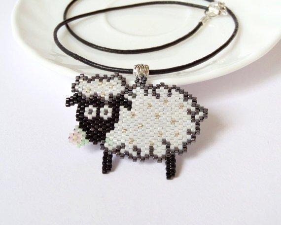 Beadwork Lamb Leather Necklace
