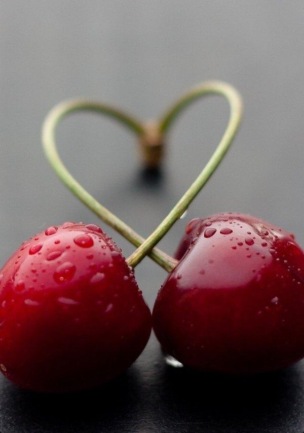 A Handful of Fresh, Ripe Cherries