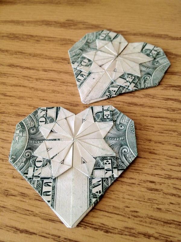 Origami Dollar Hearts