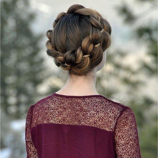 clothing, hair, hairstyle, long hair, bun,